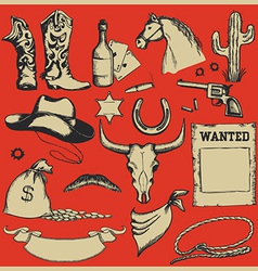 Cowboy western set objects vector