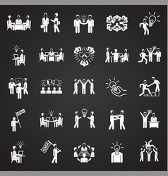 Coworking set on white black background vector