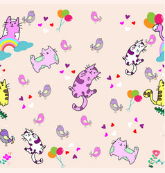 Cute cat seamless pattern with little bird on vector
