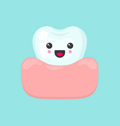 Cute colorful tooth in gum vector