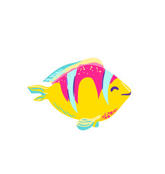 cute fish clown cartoon vector image