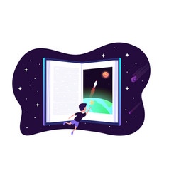 dream with book child dreams concept kids vector image