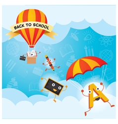 Education characters parachute hot air balloon vector