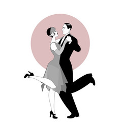 elegant couple wearing 20s style clothes dancing vector image