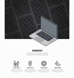 Energy concept web page template with laptop vector