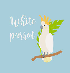 Exotic tropical bird white parrot vector