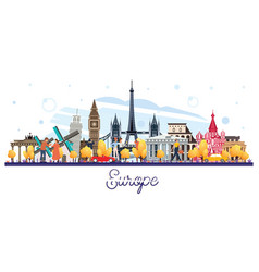 famous landmarks in europe isolated on white vector image