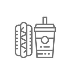 fast food hot dog and drink line icon vector image