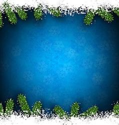 Fir and snow christmas frame vector