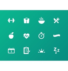 Fitness icons on green background vector image