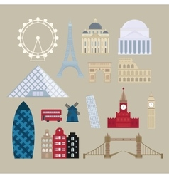 Flat cartoon style historic sight european vector