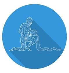 Flat icon of zodiac sign Aquarius vector image