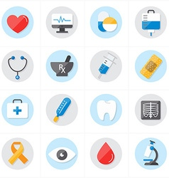 Flat Icons For Medical Icons and Healthcare Icons vector image