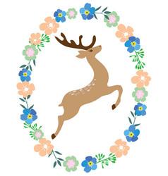 floral frame deer vector image