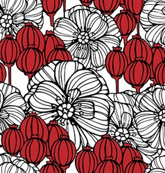 Floral pattern with poppies flowers vector