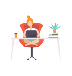 Freelancer girl working at home office with laptop vector