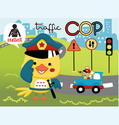 Funny traffic cop cartoon vector