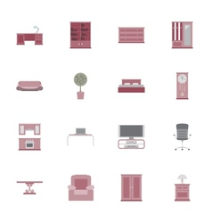 Furniture flat icon set vector image