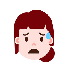 girl head emoji personage icon with facial vector image