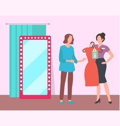 Girl trying on dress in fashion boutique vector