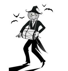 halloween pumpkin playing music vector image