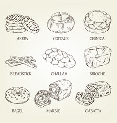 Hand-drawing collection bakery products vector