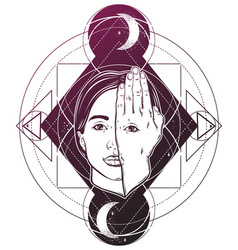 Hand drawn woman face with eye on her vector