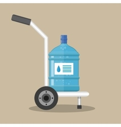 Hand truck with plastic bottle for water cooler vector