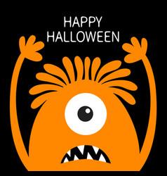 Happy halloween monster head orange silhouette vector