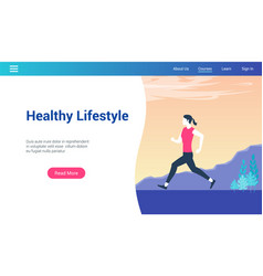 healthy lifestyle lp template vector image