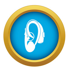 Hearing aid icon blue isolated vector