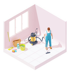 Isometric house cleaning after renovation vector