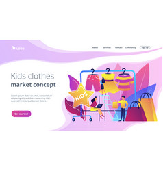 Kids fashion concept landing page vector