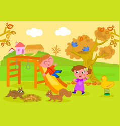 kids in park in autumn vector image