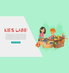kids land toys web banner vector image