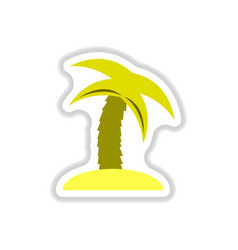 labels with shadow flat icon palm tree vector image