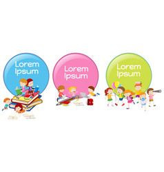 Lable designs with children reading and playing vector