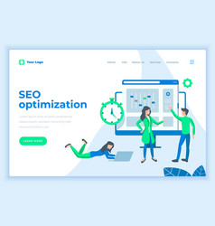 Landing page template seo optimization concept vector