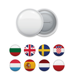layout of round flags for badge template vector image