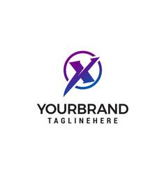 Letter x tech circle logo design concept template vector