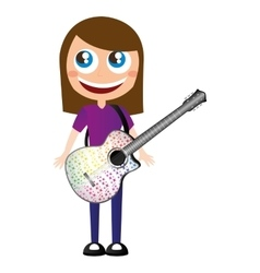 Little kid playing electric guitar vector