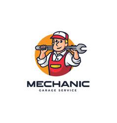 logo mechanic mascot cartoon style vector image