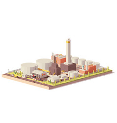 Low poly oil refinery plant vector