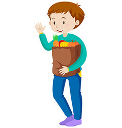 Man holding bag of groceries vector