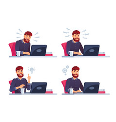 man working on laptop business character in vector image