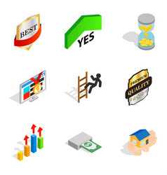 Managerial position icons set isometric style vector
