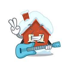 Mascot winter house a cartoon isolated with guitar vector