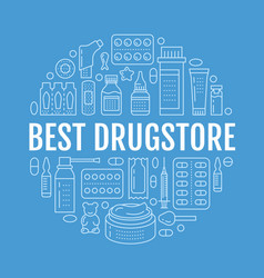 Medical drugstore poster template vector