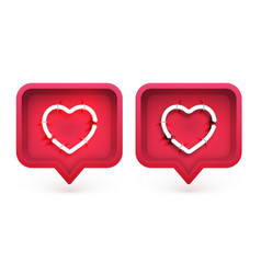 neon hearts with on and off tubes in 3d speech vector image