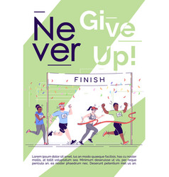 Never give up brochure template marathon finish vector